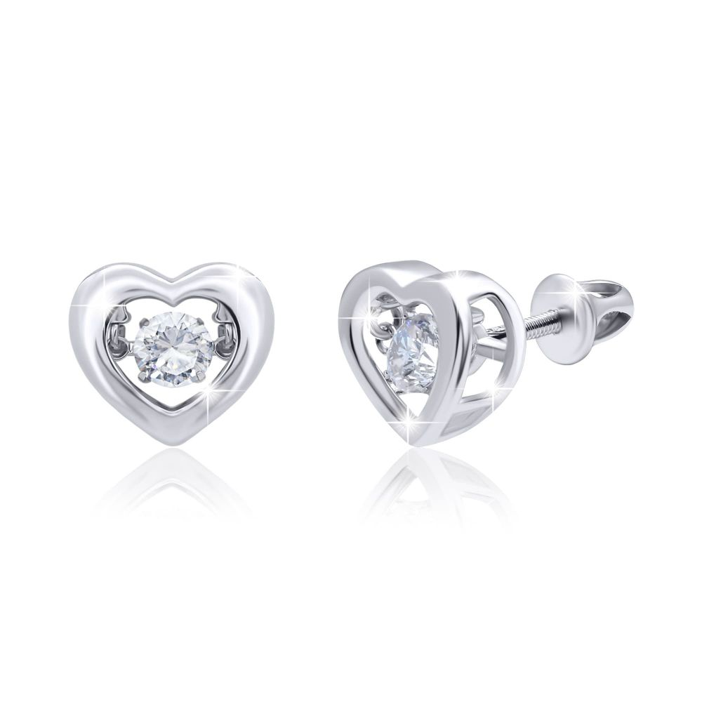 """Earrings """"Heart with a dancing stone"""""""